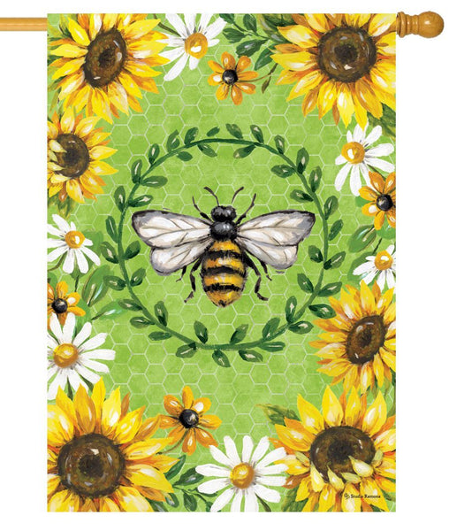 Bumble Bee and Sunflowers House Flag
