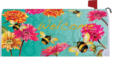 Bumblebees and Flowers Mailbox Cover