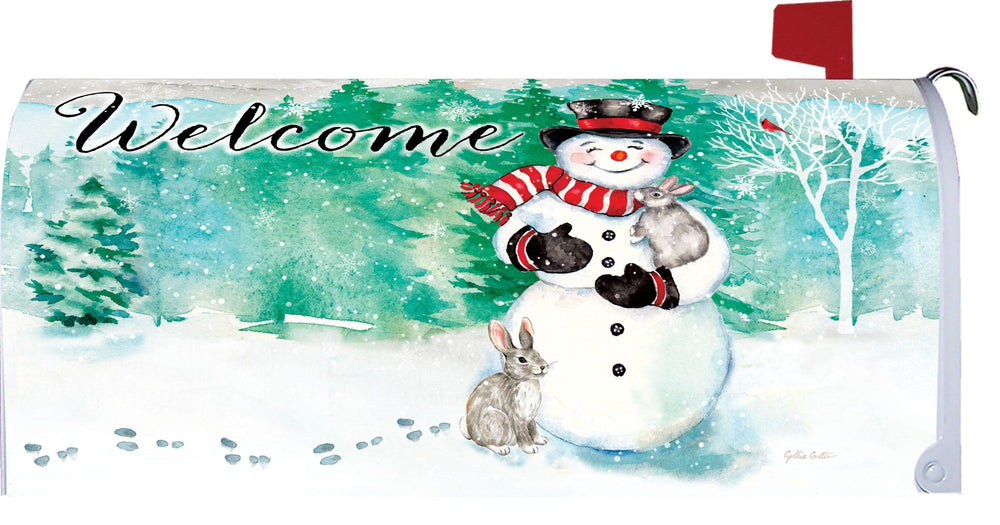 Bunnies and Snowman Mailbox Cover