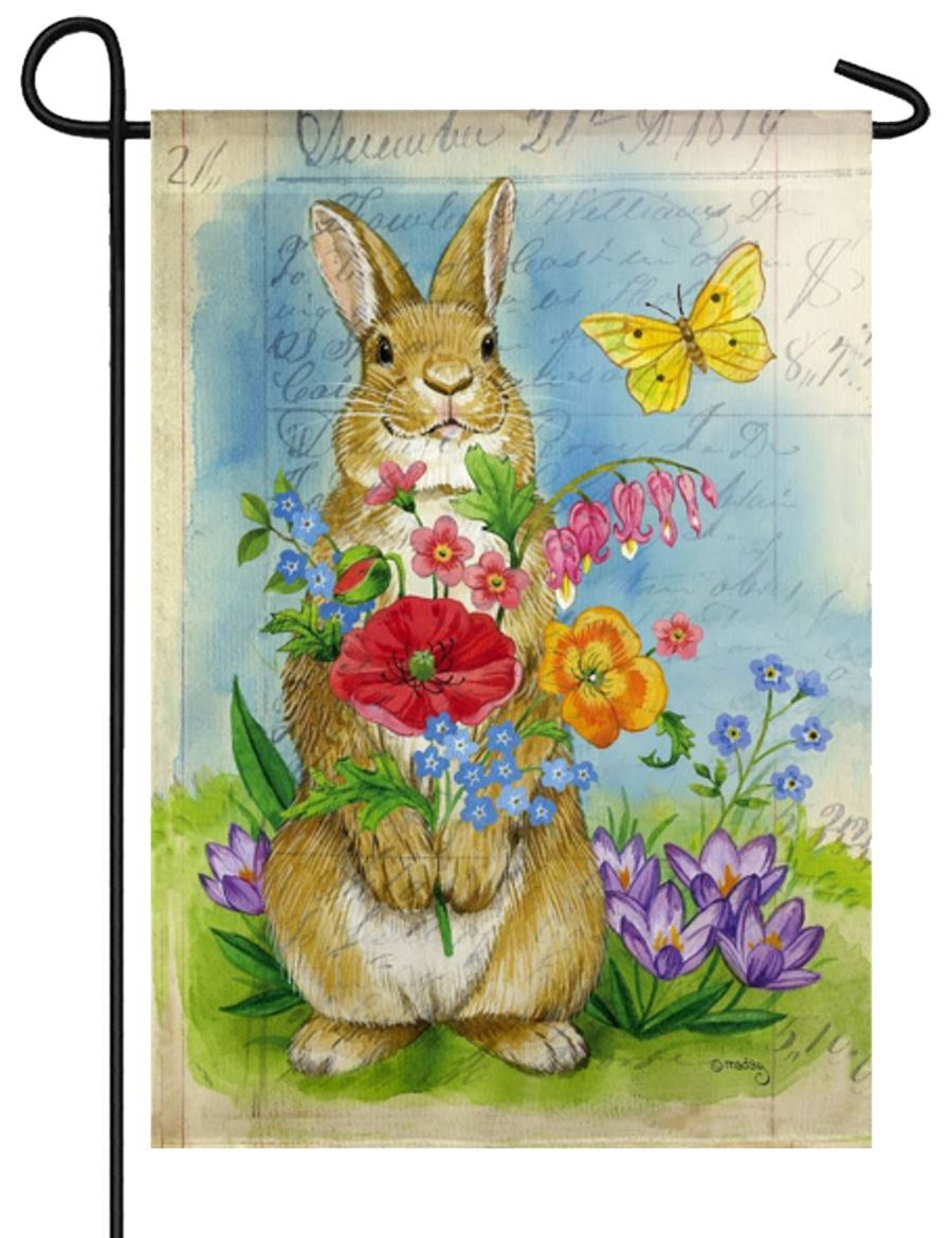 Bunny Bouquet Suede Reflections Garden Flag