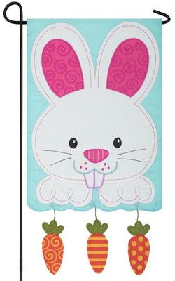 Bunny with Dangling Carrots Double Applique Garden Flag