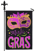 Burlap Bedazzled Mardi Gras Mask Decorative Garden Flag