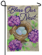 Burlap Bird's Nest and Lilacs Decorative Garden Flag