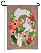 Burlap Bunny Wreath Decorative Garden Flag