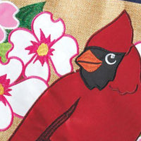 Burlap Cardinal and Dogwoods Double Applique Garden Flag Detail 1