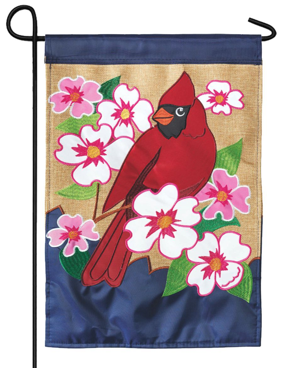 Burlap Cardinal and Dogwoods Double Applique Garden Flag