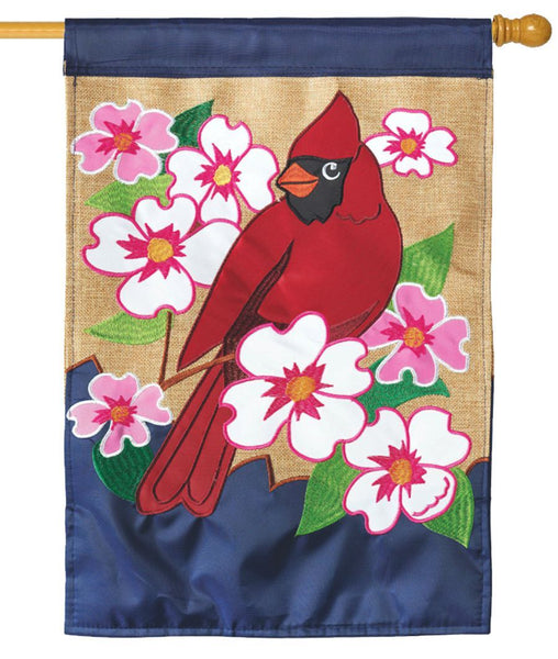 Burlap Cardinal and Dogwoods Double Applique House Flag - I AmEricas Flags