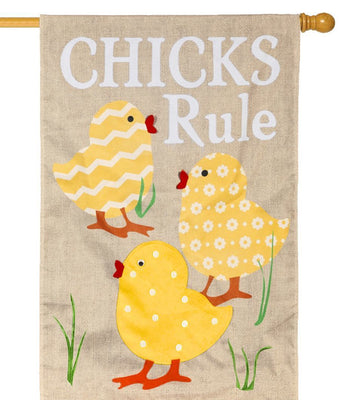 Burlap Chicks Rule Decorative House Flag