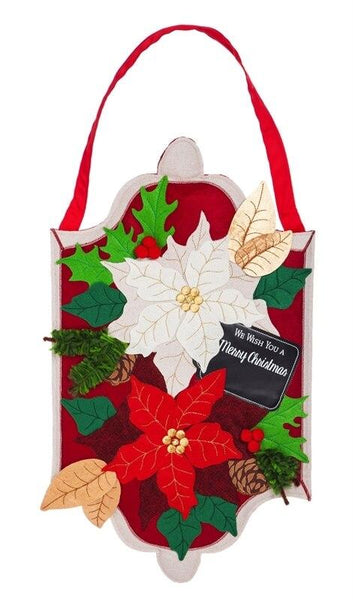 Burlap Christmas Poinsettias Decorative Door Hanger - Door Hangers/Fall Christmas Winter Door Hangers - I AmEricas Flags