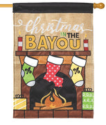 Burlap Christmas on the Bayou Double Applique House Flag