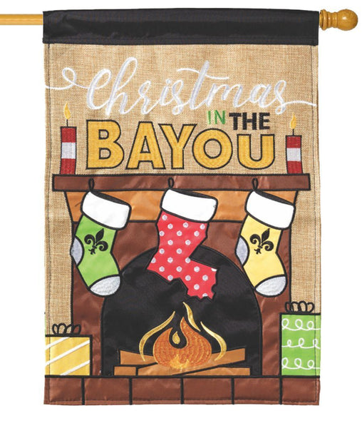 Burlap Christmas on the Bayou Double Applique House Flag - All Decorative Flags/Holidays/Christmas Flags - I AmEricas Flags