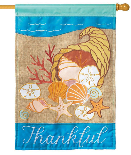 Burlap Coastal Thanksgiving Double Applique House Flag