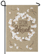 Burlap Cotton Pickin' Blessed Double Applique Garden Flag