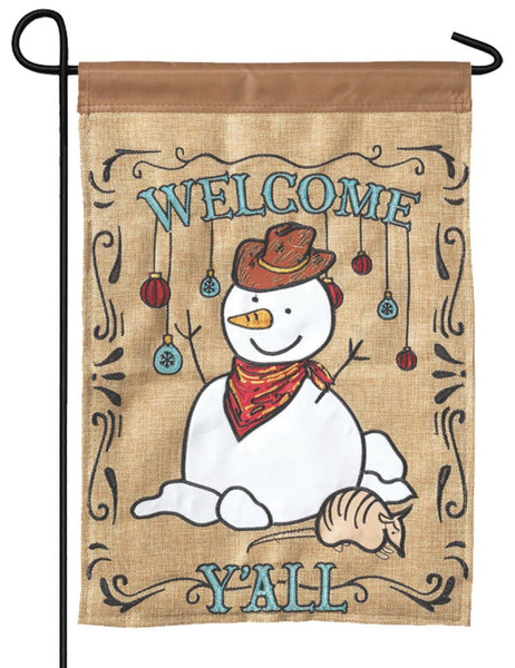 Burlap Cowboy Snowman Double Applique Garden Flag