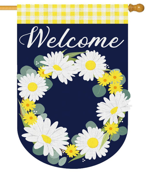 Burlap Daisy Wreath Decorative House Flag - I AmEricas Flags