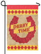 Burlap Derby Time Double Applique Garden Flag