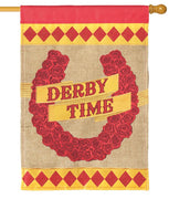 Burlap Derby Time Double Applique House Flag