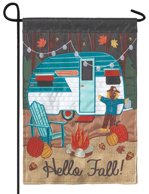 Burlap Fall Camper Double Applique Garden Flag