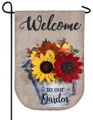 Burlap Fall Sunflowers Watering Can Decorative Garden Flag