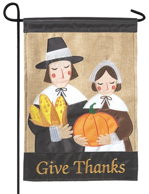 Burlap Give Thanks Pilgrims Double Applique Garden Flag