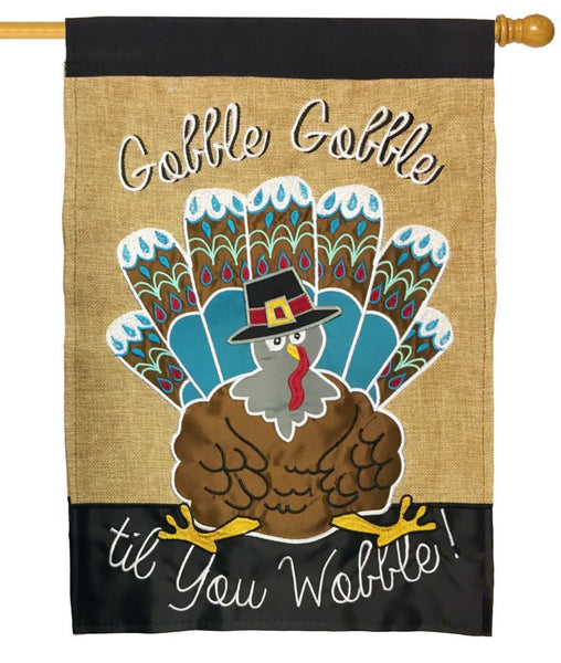 Burlap Gobble Gobble Wobble Double Applique House Flag