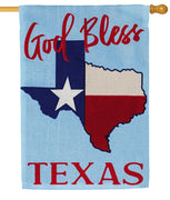 Burlap God Bless Texas Decorative House Flag