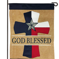 Burlap God Blessed Texas Cross Double Applique Garden Flag