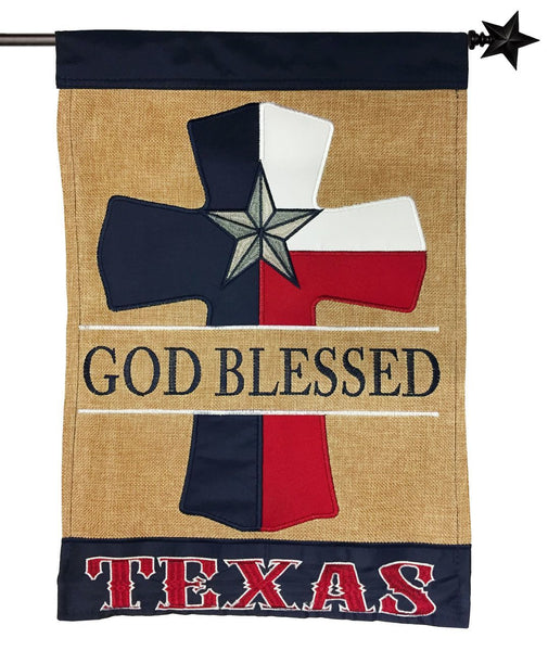 Burlap God Blessed Texas Cross Double Applique House Flag