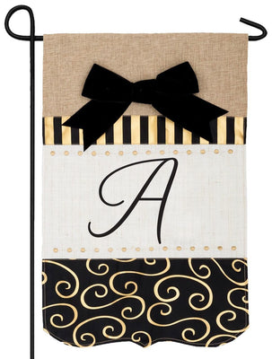 Burlap Gold and Linen Letter A Monogram Garden Flag