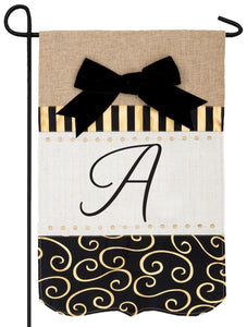 Burlap Gold and Linen Letter A Monogram Garden Flag - All Decorative Flags/Monogram Flags - I AmEricas Flags