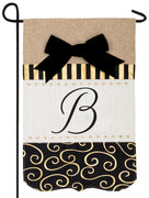 Burlap Gold and Linen Letter B Monogram Garden Flag