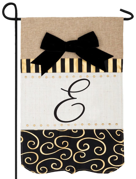Burlap Gold and Linen Letter E Monogram Garden Flag