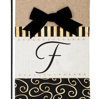 Burlap Gold and Linen Letter F Monogram Garden Flag