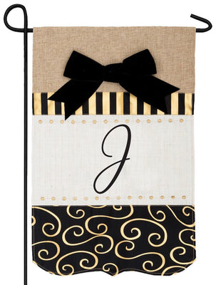 Burlap Gold and Linen Letter J Monogram Garden Flag