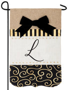Burlap Gold and Linen Letter L Monogram Garden Flag