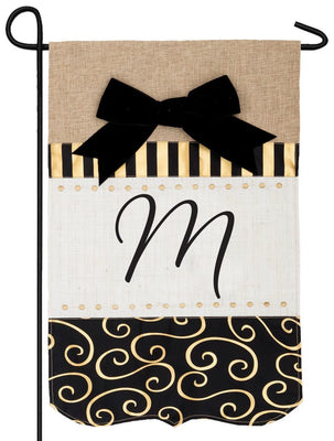 Burlap Gold and Linen Letter M Monogram Garden Flag