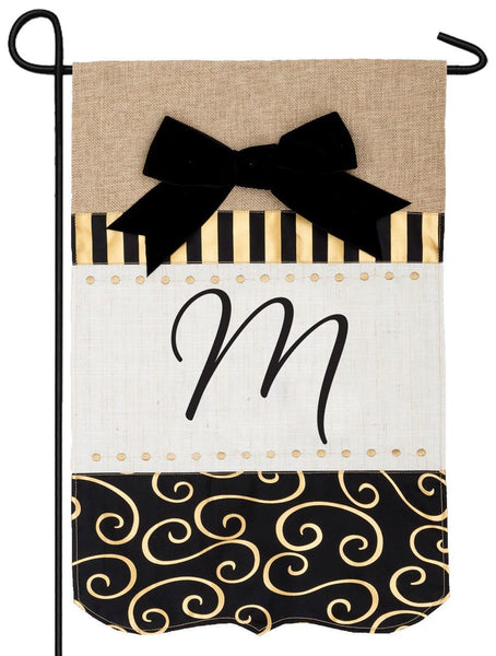 Burlap Gold and Linen Letter M Monogram Garden Flag - All Decorative Flags/Monogram Flags - I AmEricas Flags