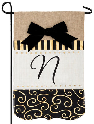 Burlap Gold and Linen Letter N Monogram Garden Flag