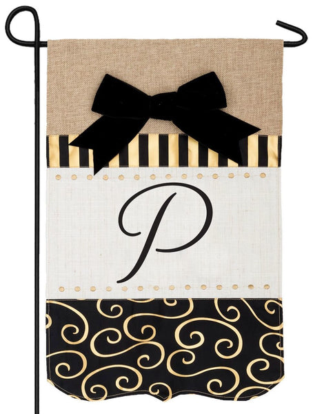 Burlap Gold and Linen Letter P Monogram Garden Flag