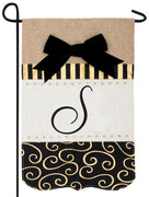 Burlap Gold and Linen Letter S Monogram Garden Flag