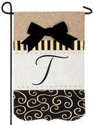 Burlap Gold and Linen Letter T Monogram Garden Flag