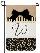 Burlap Gold and Linen Letter W Monogram Garden Flag