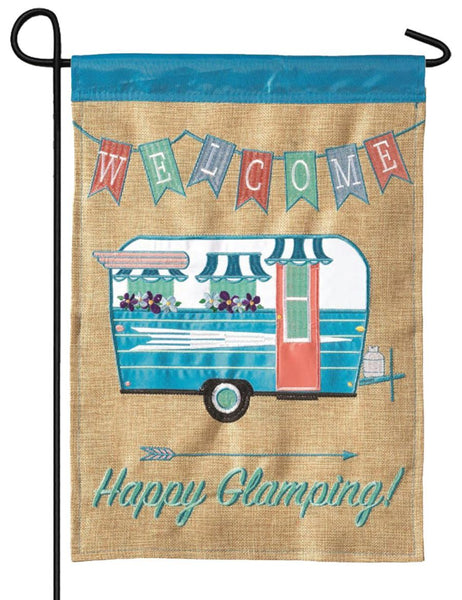 Burlap Happy Glamping Double Applique Garden Flag