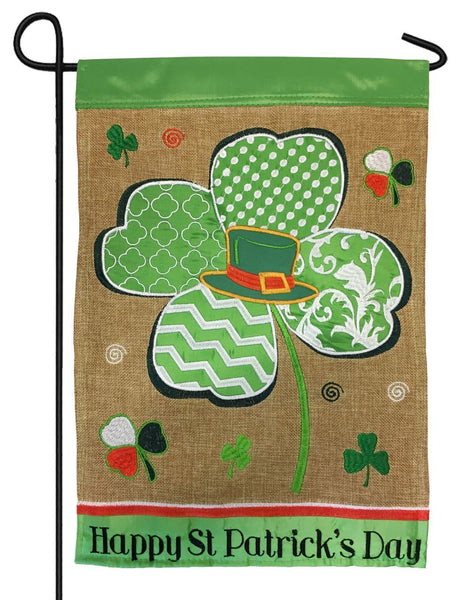 Burlap Happy St. Patrick's Day Double Applique Garden Flag