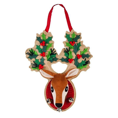 Burlap Holly Reindeer Antlers Decorative Door Hanger