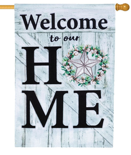 Burlap Home Star Wreath Decorative House Flag