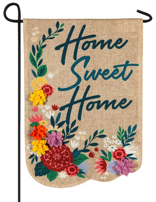 Burlap Home Sweet Home Floral Decorative Garden Flag