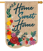 Burlap Home Sweet Home Floral Decorative House Flag