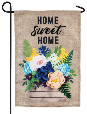 Burlap Home Sweet Home Flower Crate Decorative Garden Flag