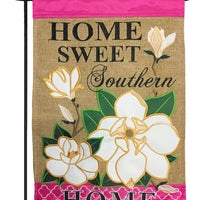 Burlap Home Sweet Southern Home Double Applique Garden Flag